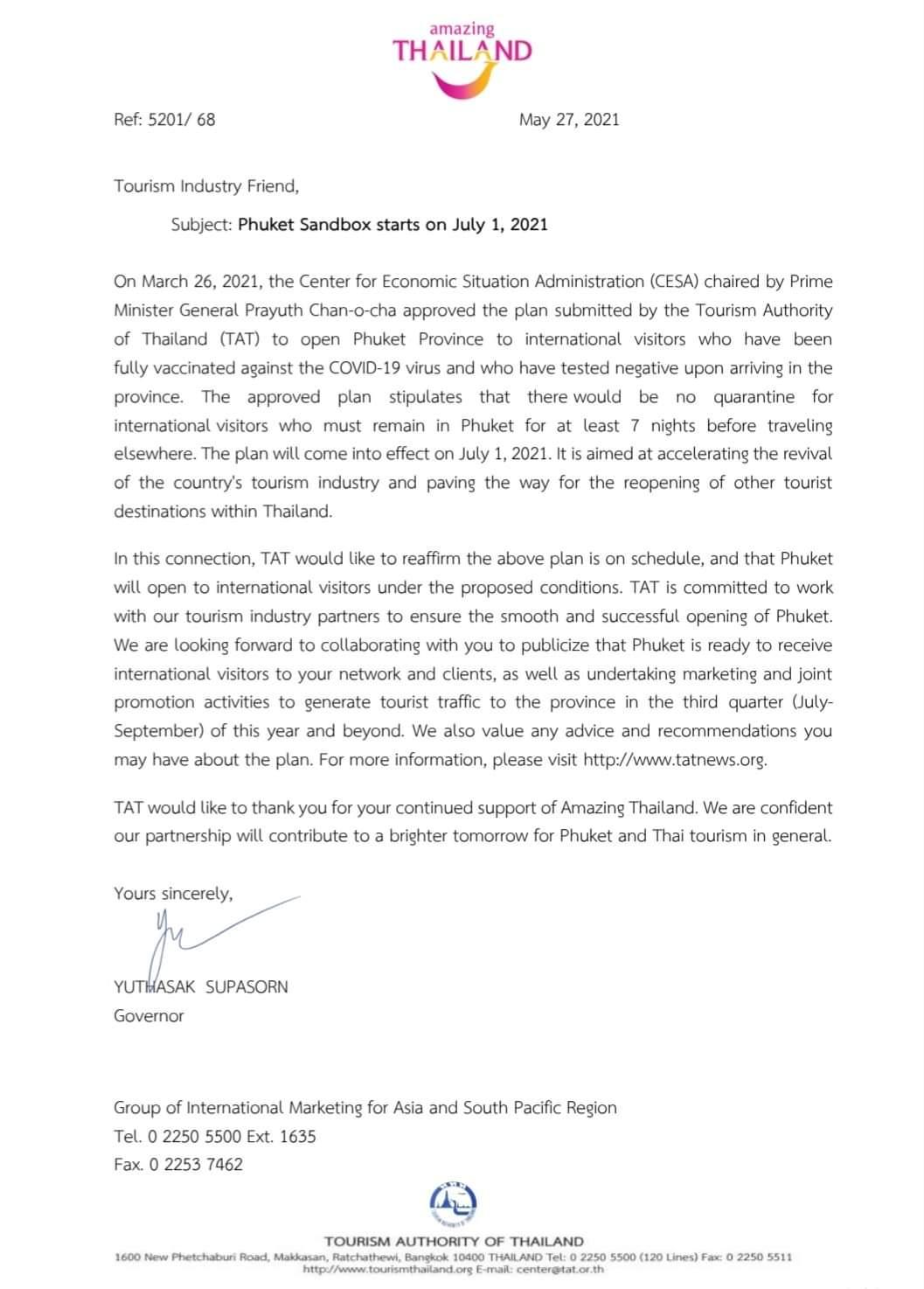 Phuket Sandbox Announcement